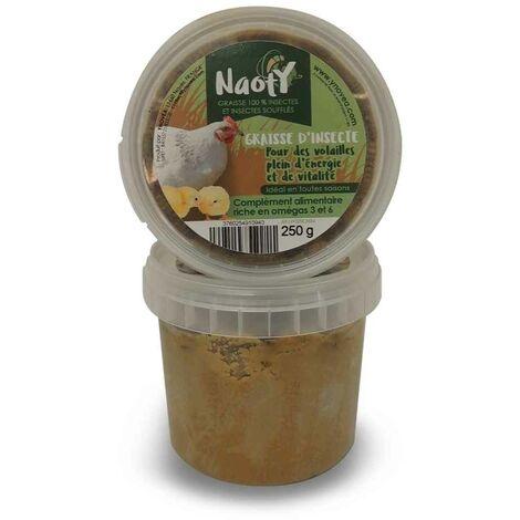 Naoty - Aliment Graisse 100% Insectes et Insectes Soufflés pour Basse-cour - 250g