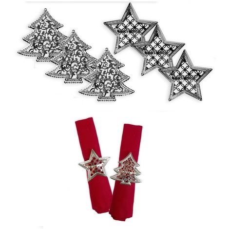 Napkin Rings Set of 6 Silver Star Christmas Tree Christmas Lunch Party Tableware