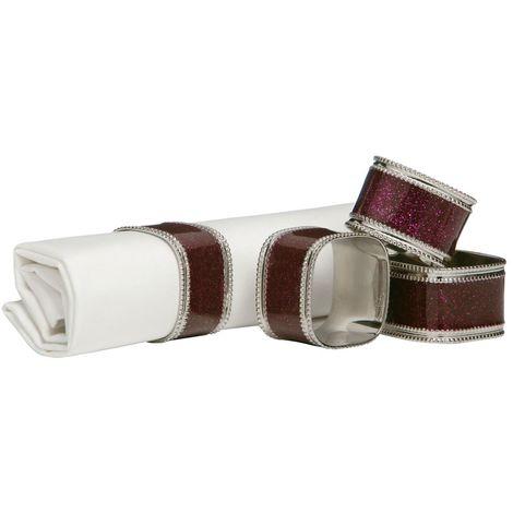 Napkin Rings,Set of 4,Purple Glitter/Nickel Plated