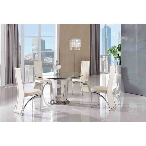 NAPLES DINING TABLE & 4 ALISA IVORY CHAIRS