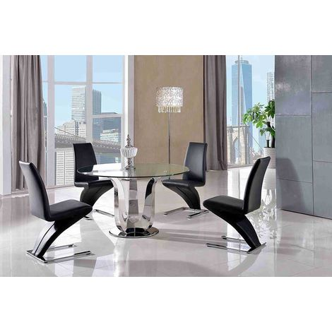NAPLES DINING TABLE & 4 ZED BLACK CHAIRS