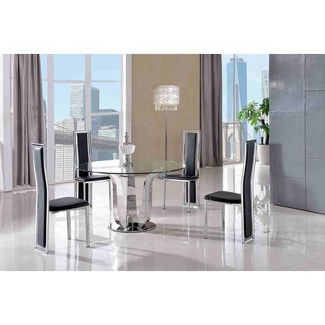 Naples Glass & Polished Stainless Steel Dining Table & 4 Elsa Dining Chairs (Black)