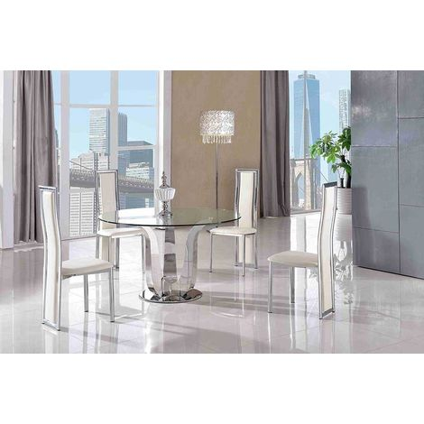 Naples Glass & Polished Stainless Steel Dining Table & 4 Elsa Dining Chairs (Ivory)