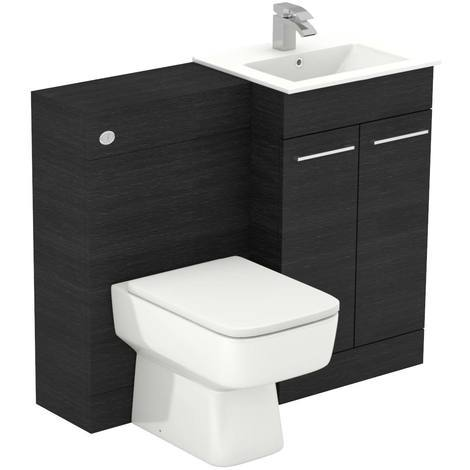 Napoli Black Oak 1000mm 2 Door Vanity Unit Toilet Suite