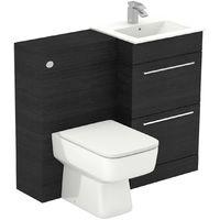 Napoli Black Oak 1000mm 2 Drawer Vanity Unit Toilet Suite
