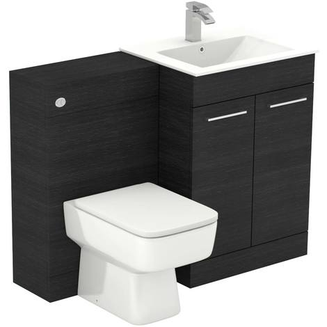 Napoli Black Oak 1100mm 2 Door Vanity Unit Toilet Suite