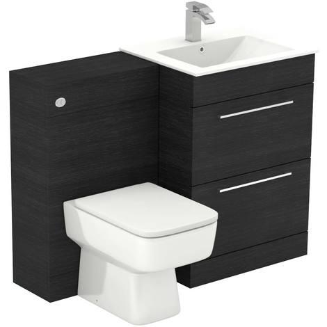 Napoli Black Oak 1100mm 2 Drawer Vanity Unit Toilet Suite