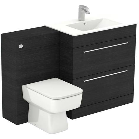 Napoli Black Oak 1300mm 2 Drawer Vanity Unit Toilet Suite