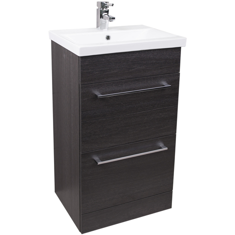Napoli Black Oak 2 Drawer 500 Unit & Basin