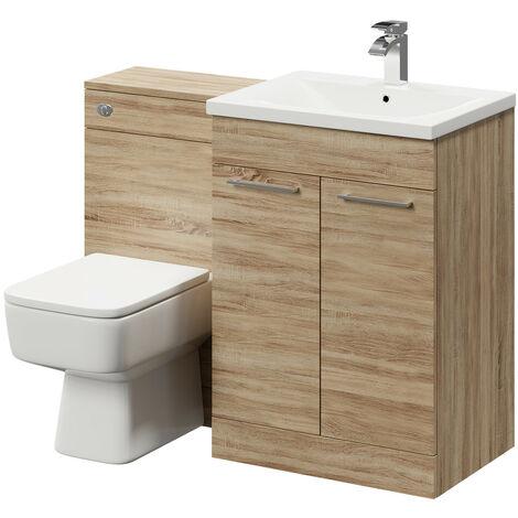 Napoli Bordalino Oak 1100mm 2 Door Vanity Unit Toilet Suite
