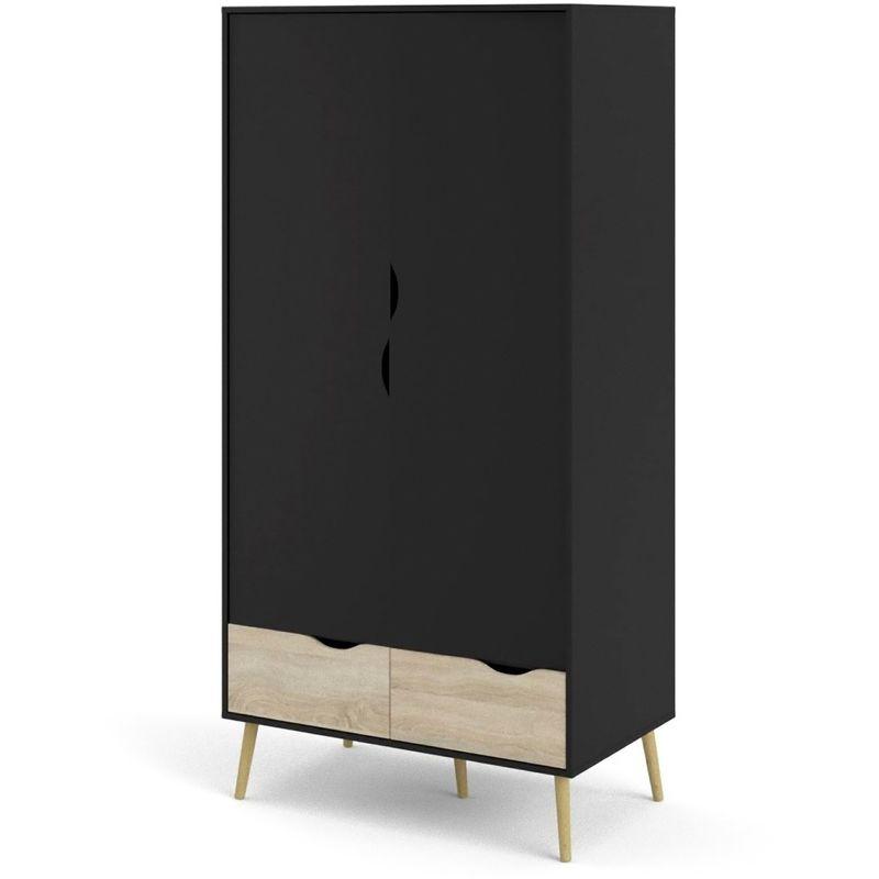 Napoli Kleiderschrank 2 Türen und 2 Schubladen mattschwarz, Eiche Struktur Dekor 07-75396gmak - PK-INVEST