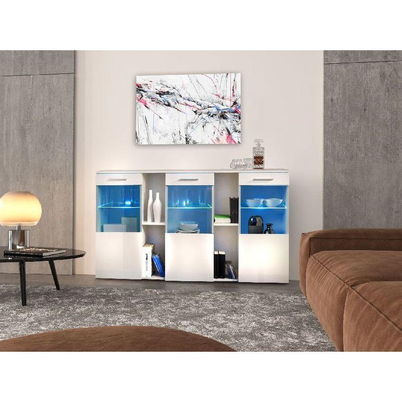Napoli Kommode - mit Regalen mit LED-Beleuchtung, Tueren - vom Eingang, Wohnzimmer, Zimmer - Weiss aus Holz, MDF, Glas, 160 x 40 x 92 cm - HOMEMANIA