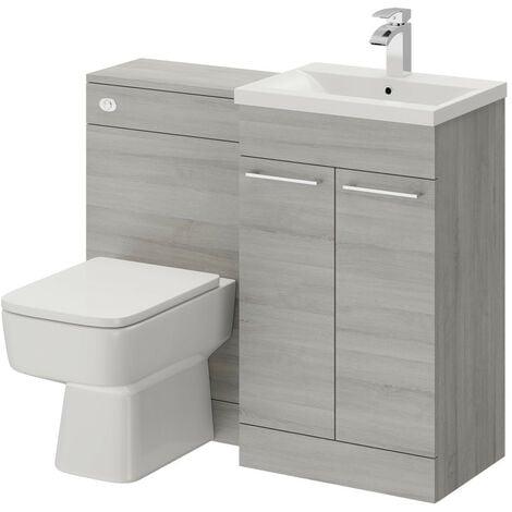 Napoli Molina Ash 1000mm 2 Door Vanity Unit Toilet Suite