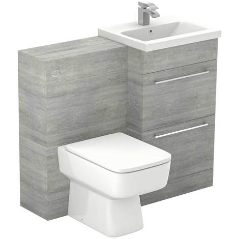 Napoli Molina Ash 1000mm 2 Drawer Vanity Unit Toilet Suite