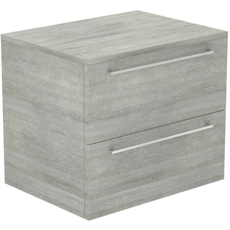Napoli Molina Ash 600mm Wall Mounted 2 Drawer Vanity Unit With Top