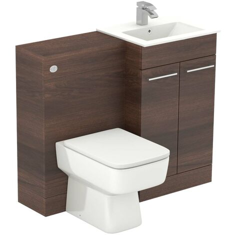 Napoli Walnut 1000mm 2 Door Vanity Unit Toilet Suite
