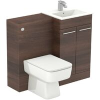 Napoli Walnut 1000mm 2 Door Vanity Unit Toilet Suite