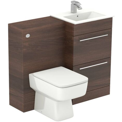Napoli Walnut 1000mm 2 Drawer Vanity Unit Toilet Suite