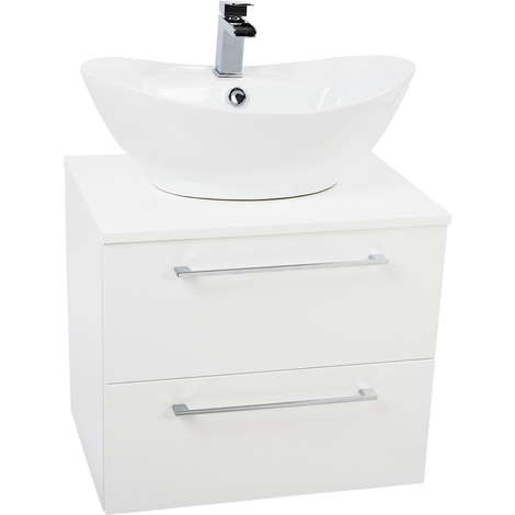 Napoli White 2 Drawer 600 Wall Mounted Unit & Top