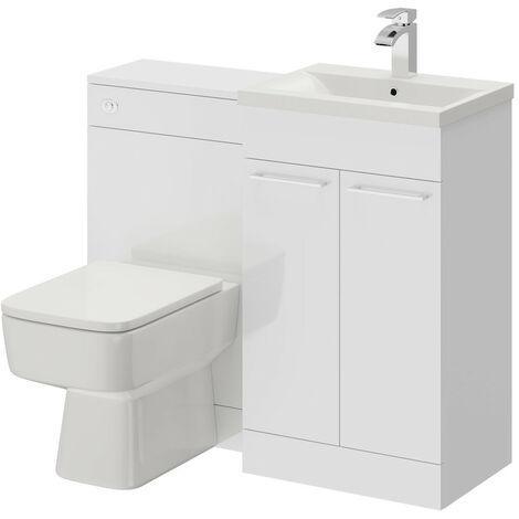 Napoli White Gloss 1000mm 2 Door Vanity Unit Toilet Suite