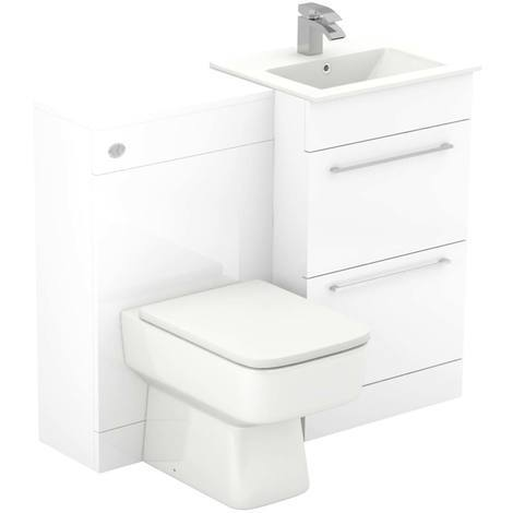 Napoli White Gloss 1000mm 2 Drawer Vanity Unit Toilet Suite