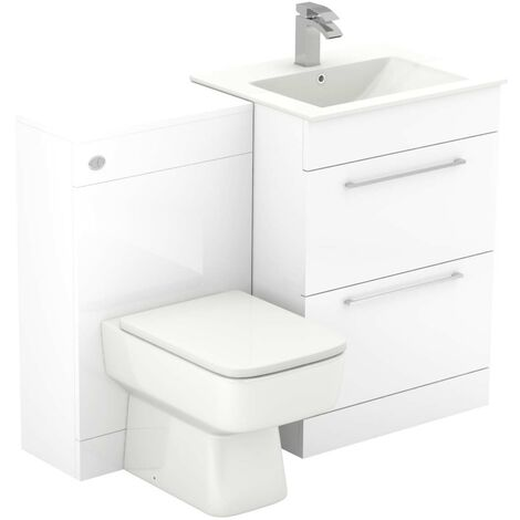Napoli White Gloss 1100mm 2 Drawer Vanity Unit Toilet Suite