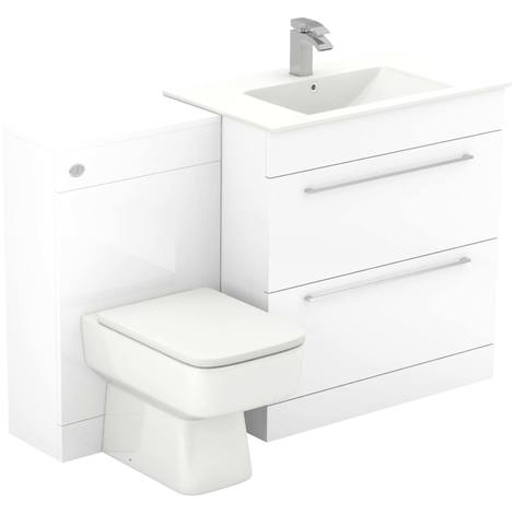 Napoli White Gloss 1300mm 2 Drawer Vanity Unit Toilet Suite