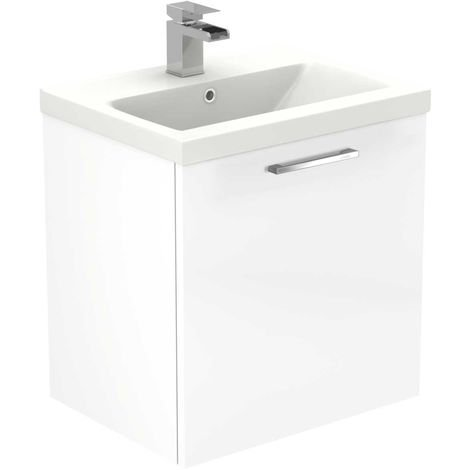 Napoli White Gloss 500mm Wall Mounted 1 Drawer Vanity Unit Including Basin