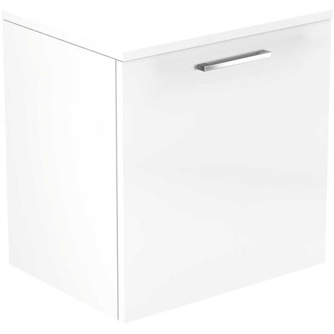 Napoli White Gloss 500mm Wall Mounted 1 Drawer Vanity Unit With Top
