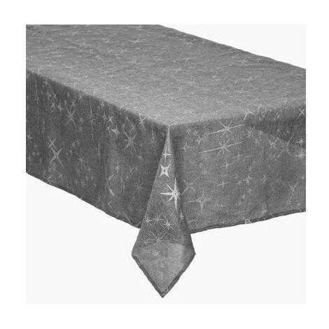 Nappe de table canevas imprimé étoiles - 140 x 240 cm - Gris