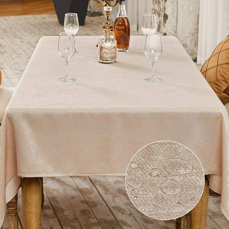 Nappe de Table Décoration de Table de la Fête Nappe Effet Lin Rectangulaire Nappe Imperméable et Anti Tache (Beige, 140 x 180 cm)