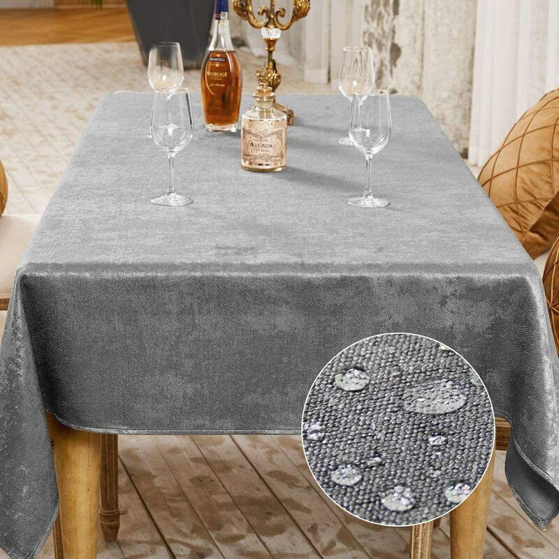 Nappe de Table Décoration de Table de la Fête Nappe Effet Lin Rectangulaire Nappe Imperméable et Anti Tache (Gris, 145 x 300 cm)