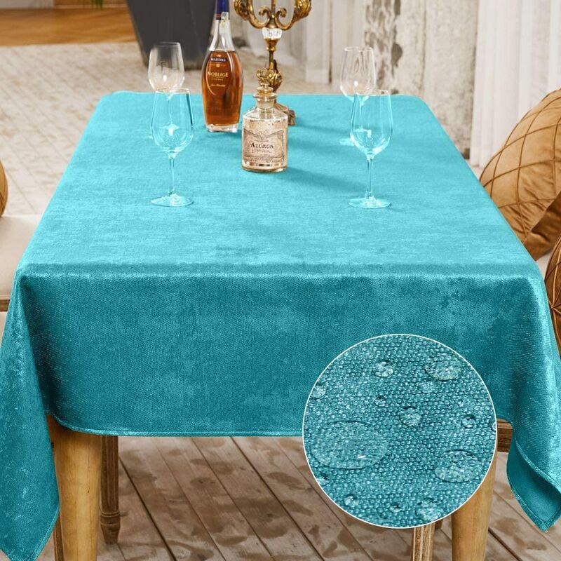 Nappe de Table Décoration de Table de la Fête Nappe Effet Lin Rectangulaire Nappe Imperméable et Anti Tache (Lac Bleu, 140 x 240 cm)