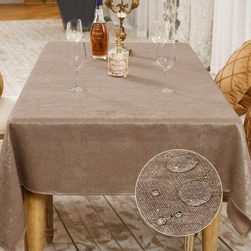 Nappe de Table Décoration de Table de la Fête Nappe Effet Lin Rectangulaire Nappe Imperméable et Anti Tache (Taupe, 145 x 300 cm)