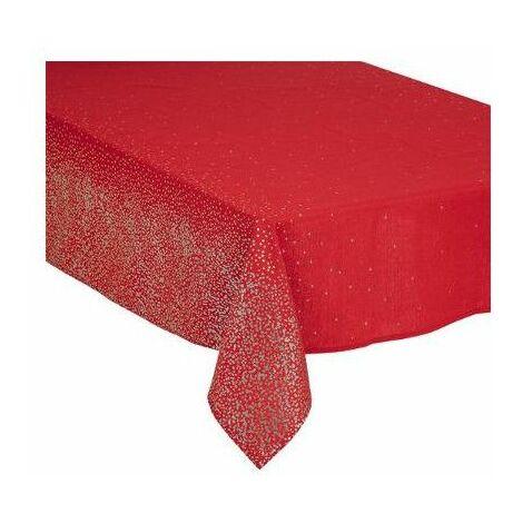Nappe de table de Noël pailletés - 140 x 240 cm - Rouge et argenté