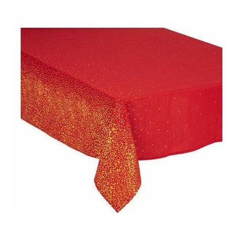 Nappe de table de Noël pailletés - 140 x 240 cm - Rouge et doré