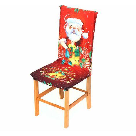 Nappe de table de no?l imprimée en 3D housse de chaise universelle élastique décorations d'h?tel à la maison de no?l (housse de chaise B 1 PC) No?l
