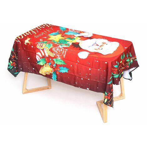 Nappe de table du père no?l imprimée en 3D, housse de chaise universelle élastique, décorations d'h?tel à la maison de No?l (Nappe B 140x180) No?l