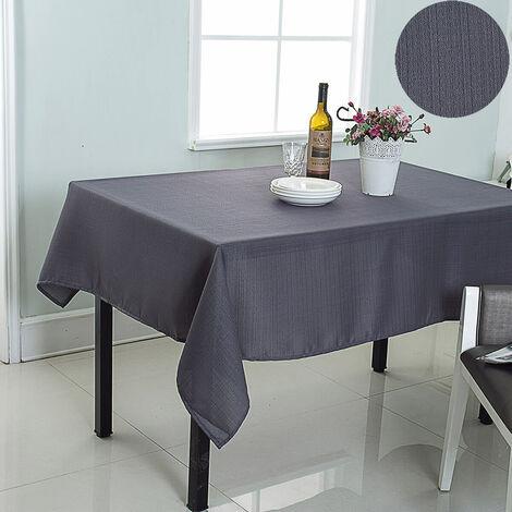 Nappe de table rectangulaire effet tissé uni - Gris anthracite