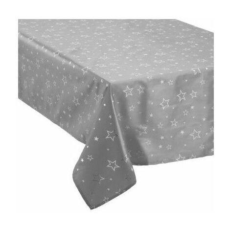 Nappe de table taffetas imprimé étoiles - 140 x 240 cm - Argenté