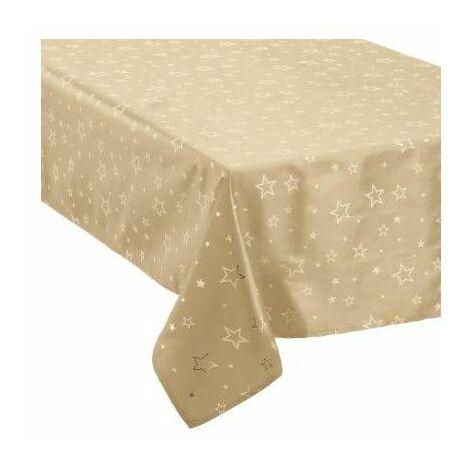 Nappe de table taffetas imprimé étoiles - 140 x 240 cm - Beige