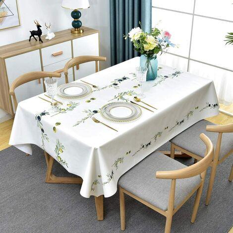 Nappe en plastique lavable en PVC est utilisée pour la cuisine, pique-nique, extérieur, protecteur de table rectangulaire imperméable à l'eau (137 x 200 cm)