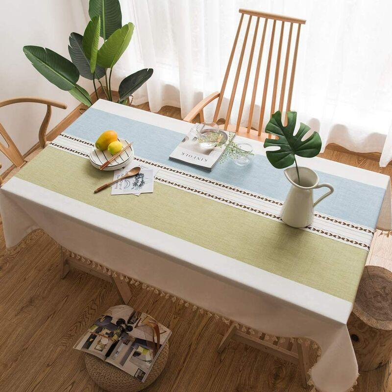 Nappe Exterieur Rectangulaire Anti Tache Nappe Lavable Tissu Nappe Table a Manger Nappe Cuisine Nappe Picnic Nappe Design Pompon Décoration De
