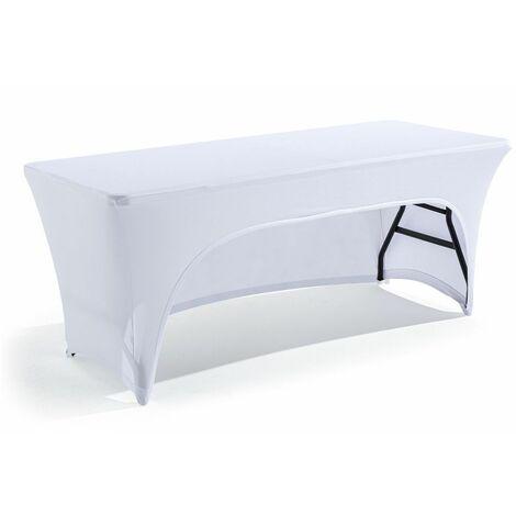 Nappe housse avec ouverture pour table pliante 180cm blanche
