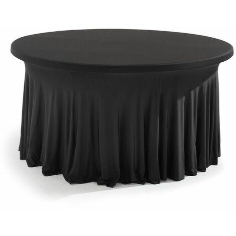Nappe pour table ronde 180cm élastique noire