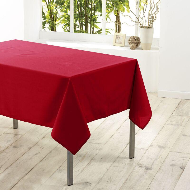 Nappe rectangle 140 x 200 cm polyester uni essentiel Rouge