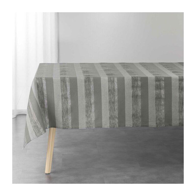 Douceur D'intérieur - Nappe rectangle 140 x 240 cm coton tisse+fils metallises eldora Gris/argent