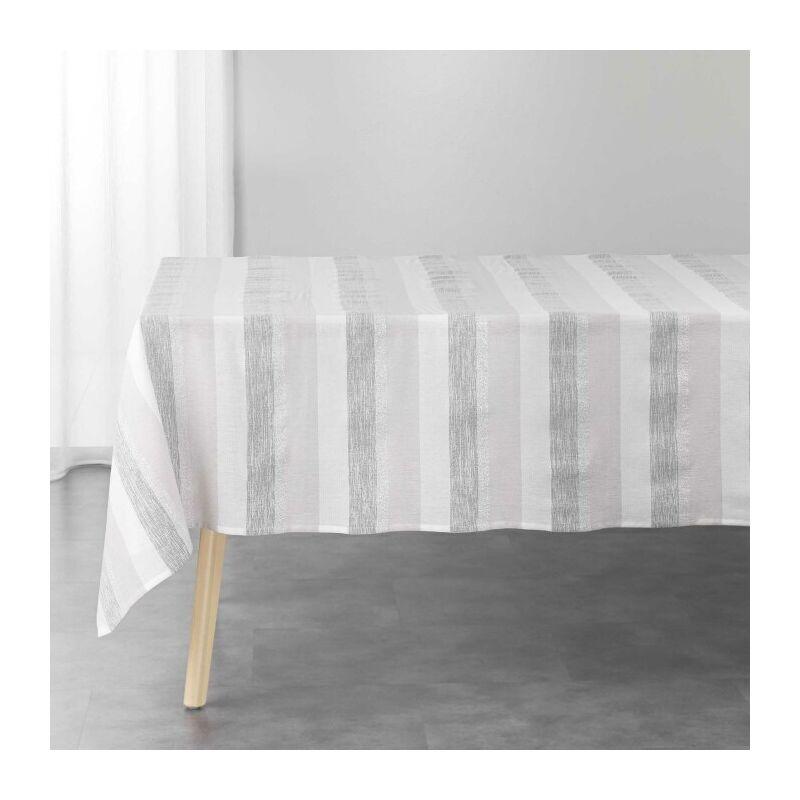 Douceur D'intérieur - Nappe rectangle 140 x 240 cm coton tisse+fils metallises eldora Naturel/argent