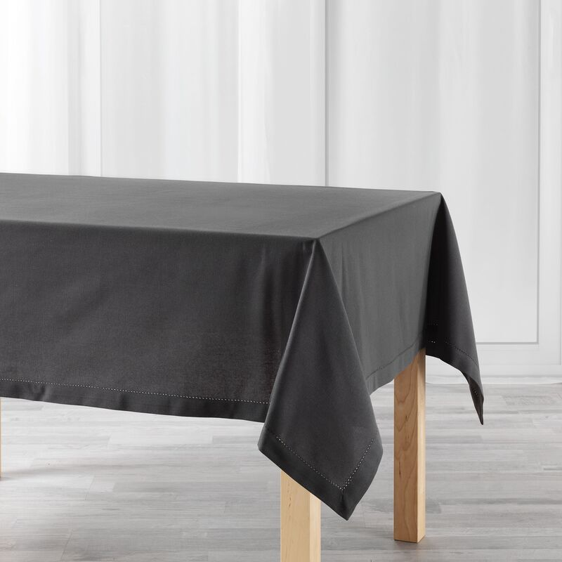 Douceur D'intérieur - Nappe rectangle 140 x 240 cm coton uni charline Anthracite