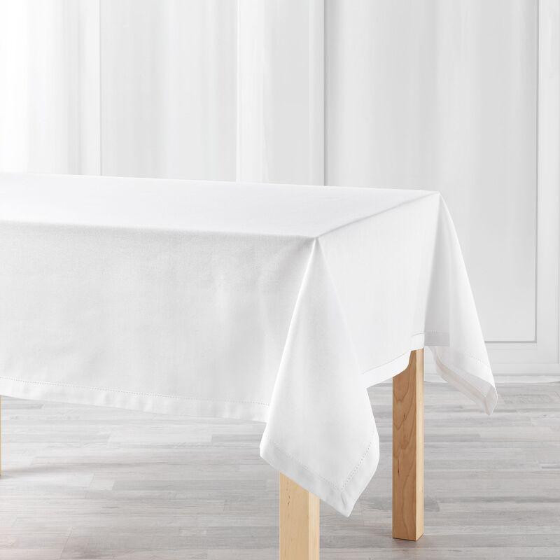 Douceur D'intérieur - Nappe rectangle 140 x 240 cm coton uni charline Blanc